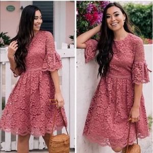 Gal Meets Glam Josephine Rose Lace Dress 4